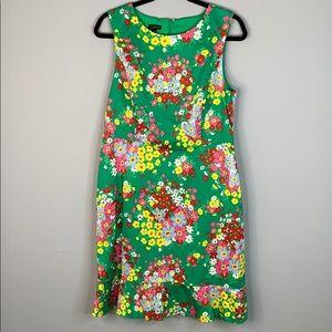 Talbots Green Floral Flounce Hem Shift Dress  10